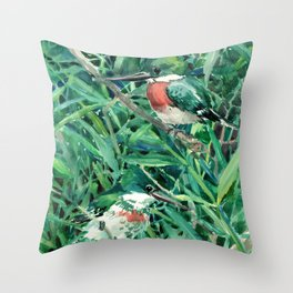 Green Kingfisher in Nature, green design Throw Pillow