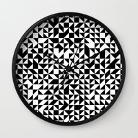 triangles Wall Clocks featuring TRIANGLES by THE USUAL DESIGNERS