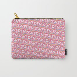 Sweden Trendy Rainbow Text Pattern (Pink) Carry-All Pouch