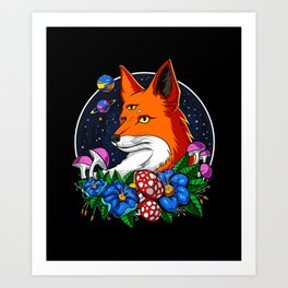Psychedelic Fox Magic Mushrooms Art Print
