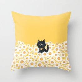 Hidden cat 23 hello annyeong Throw Pillow