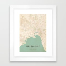 Melbourne, Australia - Vintage Map Framed Art Print