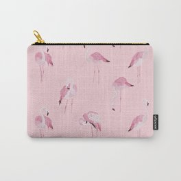 Flamingo pattern on pink background Carry-All Pouch