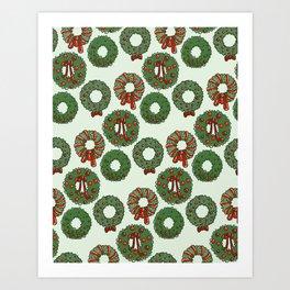 Winter Wreaths Art Print
