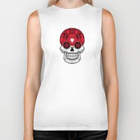 indonesia Biker Tanks featuring Sugar Skull with Roses and Flag of Indonesia by Jeff Bartels