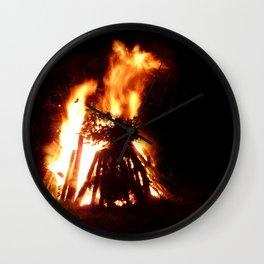 Burning Bonfire Wall Clock