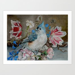 Blue Titmouse and Bee with floral still life Art Print