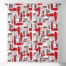 Gamer Lingo-White and Red Blackout Curtain