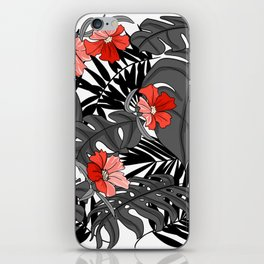 Tropical Flower Pattern - Black and White iPhone Skin