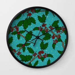 Boughs of Holly Wall Clock