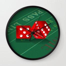 Craps Table & Red Las Vegas Dice Wall Clock