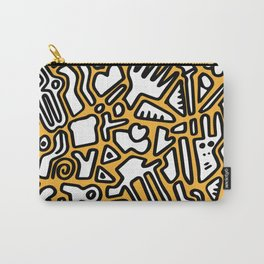 black doodle on orange Carry-All Pouch