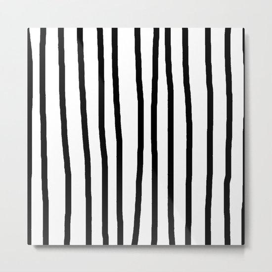 Simply Drawn Vertical Stripes in Midnight Black Metal Print