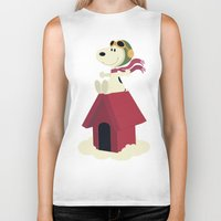 snoopy Biker Tanks featuring Snoopy - Red Baron by Ricardo A.