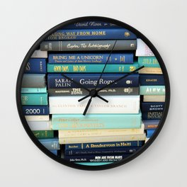 Bookworm in Blue Wall Clock