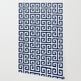 Dark Navy Blue and White Greek Key Pattern Wallpaper