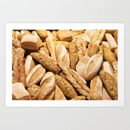 Bread baking rolls and croissants Art Print