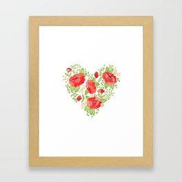 Rose Heart watercolor Framed Art Print