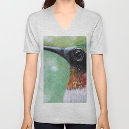 Ruby Throated Hummingbird Original Art Unisex V-Neck