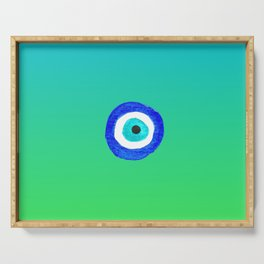 Single Evil Eye Amulet Talisman Ojo Nazar - ombre lime to tuquoise Serving Tray