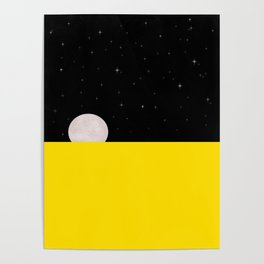 Black night with stars, moon, and yellow sea Poster