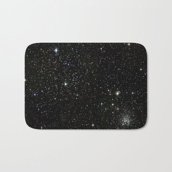 Universe Space Stars Planets Galaxy Black and White Bath Mat