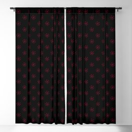 Burgundy Red on Black Snowflakes Blackout Curtain