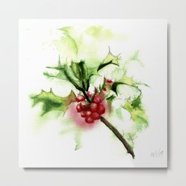 Holly Sprig, December Mist Metal Print