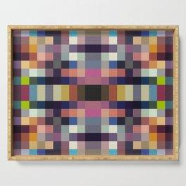 "Colorful Pixeled Vintage ""Struthopodes"" Serving Tray"