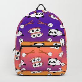Cute funny Kawaii chibi little playful baby panda bears, happy sushi with shrimp on top, rice balls and chopsticks plum purple and bright orange pattern design. Nursery decor. Backpack