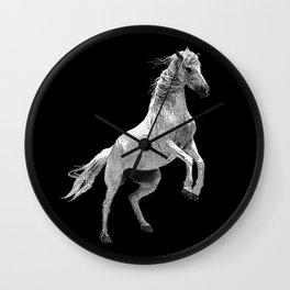 white horse, riding, horses lovers Wall Clock