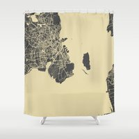 copenhagen Shower Curtains featuring Copenhagen by Map Map Maps