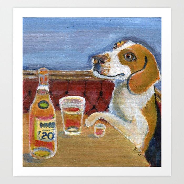 One Beagle, One Scotch, One Beer Art Print