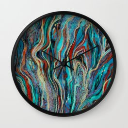 Colorful wavy abstraction Wall Clock