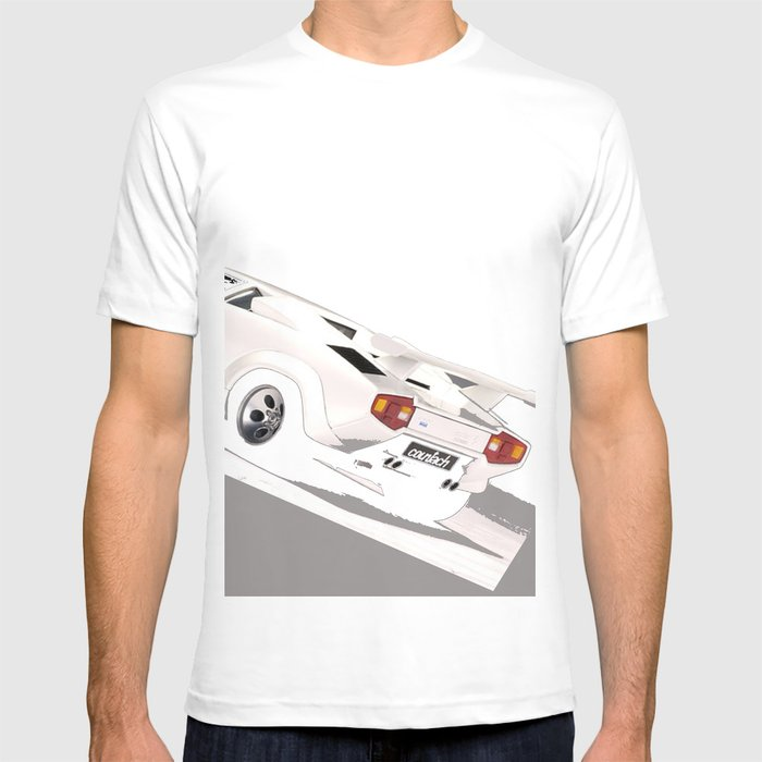 white lamborghini countach 1985 t shirt by. Black Bedroom Furniture Sets. Home Design Ideas