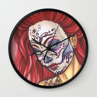 gemma correll Wall Clocks featuring Redhead Sugar Skull by Gemma Pallat by ToraSumi
