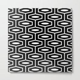 Geometric Ogee Pattern 122 Black and White Metal Print