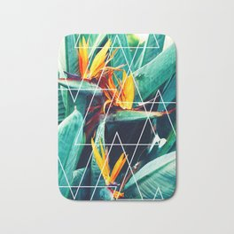 Modern white geometric triangle tropical bird of paradise photography Bath Mat