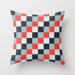 Stainless steel knife - Pixel patten in light gray , light blue and red Throw Pillow