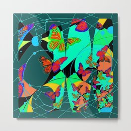 Butterfly Dream Catchers Teal Abstract Metal Print