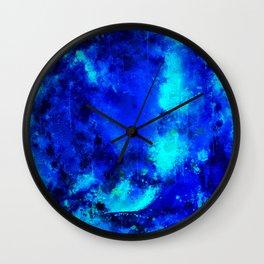 psychedelic color gradient pattern splatter watercolor blue Wall Clock