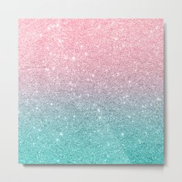 Salmon Pink To Turquoise-Blue Sparkling Glitter Metal Print