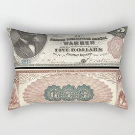 1882 U.S. Federal Reserve Five Dollar Warren, Rhode Island Bank Note Rectangular Pillow