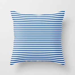 Blue Candy Stripes Throw Pillow