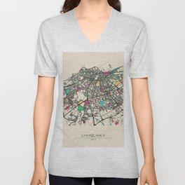 Colorful City Maps: Casablanca, Morocco Unisex V-Neck