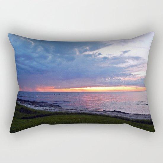 Sunset at Sea and the Rain Storm Rectangular Pillow