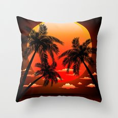 Warm Tropical Sunset with Palm Trees Throw Pillow