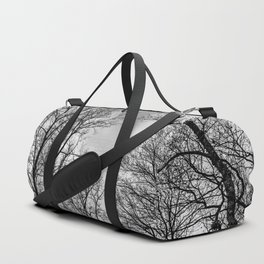 Black and white haunting trees Duffle Bag