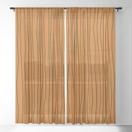Hand Drawn Lines Vertical Combination Orange / Black Sheer Curtain