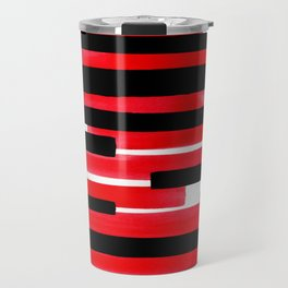 Red Primitive Stripes Mid Century Modern Minimalist Watercolor Gouache Painting Colorful Stripes Wat Travel Mug